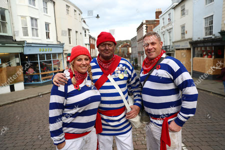 Members of the Lewis Bonfire Society are seen ahead of traditional Bonfire Celebrations in Lewes, Britain, 04 November 2017. Lewes holds Britain's largest  Bonfire night celebrationson 05 November. The event marks Guy Fawkes Night and the uncovering of the Gunpowder Plot in 1605 and commemorates the memory seventeen Protestant martyrs from the town who were burned at the stake. Thousands gather with flaming torches to march through the street and burn effigies.