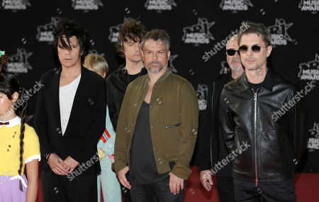 Nicola Sirkis, Marco, Boris Jardel, oLi dE SaT, Ludwig Dahlberg. Left to right, Nicola Sirkis, Ludwig Dahlberg, oLi dE SaT, Marco, Boris Jardel of the French Pop Rock group Indochine arrives at the Cannes festival palace, to take part in the NRJ Music awards ceremony, in Cannes, southeastern France