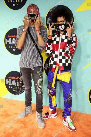 Ayo Bowles, Mateo Bowles. Ayo Bowles, left, and Mateo Bowles, right, of Ayo & Teo attend the Nickelodeon Halo Awards at Pier 36, in New York
