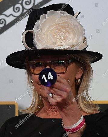 Sue Gudinski is seen moments after she picked barrier 14 for Almandin at the Melbourne Cup barrier draw on Derby Day at Flemington race course in Melbourne, 04 November 2017.