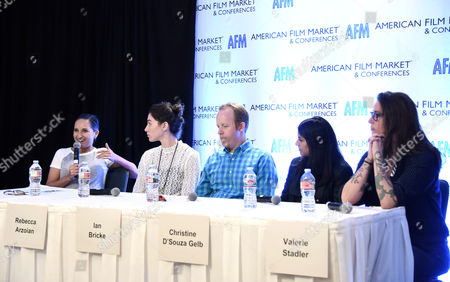 Lucy Mukerjee-Brown, Director of Programming, Outfest & Newfest, Rebecca Arzoian, Vice President of Production, Focus Features, Ian Bricke, Director, Content Acquisition, Netflix, Christine D'Souza, Agent, WME, and Kiska Higgs, Head of Acquisitions and Co-Productions, Focus Features