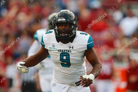 Coastal Carolina linebacker Shane Johnson #9 moves across the field. The Arkansas Razorbacks defeated the Coastal Carolina Chanticleers 39-38 at Donald W. Reynolds Stadium in Fayetteville, AR, Richey Miller/CSM