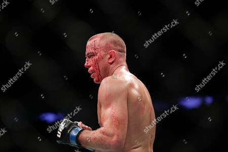 Michael Bisping, Georges St-Pierre. Georges St-Pierre, of Canada, is bloodied as he faces England's Michael Bisping during a middleweight title mixed martial arts bout at UFC 217 early, in New York. St-Pierre won the fight