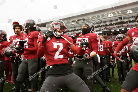 Washington State defensive back Robert Taylor (2) dances after an NCAA college football game against Stanford in Pullman, Wash