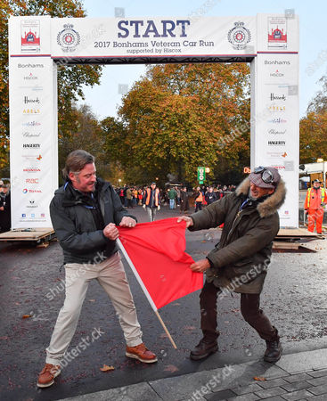 Charlie Boorman and Damon Hill tear up the Red Flag ahead of the Bonham's Vintage Car Run