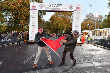 Stock Picture of Charlie Boorman and Damon Hill tear up the Red Flag ahead of the Bonham's Vintage Car Run