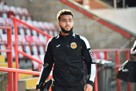 Nicholas Brown (20) of Heybridge Swifts arriving before the The FA Cup match between Exeter City and Heybridge Swifts at St James' Park, Exeter