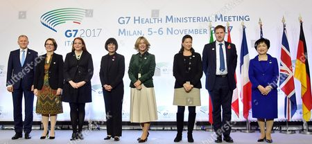 (L-R) EU's Safety Commissioner of Health and Food Vytenis Andriukatis, Germany's Parlamentary State Secretary Annette Widmann-Mauz, US Chief of Staff HHS Office of Global Affairs Jennifer Haily, Canada's Minister of Health Ginette Petipas Taylor, Italy's Minister of Health Beatrice Lorenzin, France's Minister of Health and Solidarity Agnes Buzyn, United Kingdom's Undersecretary for Public Health and Community Heath Steve Brine and Japan's State Minister Michiyo Takagi pose for a family photo at the G7 Health Ministerial Meeting in Milan, Italy, 05 November 2017.