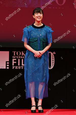 "Stock Image of Actress Shizuka Ishibashi speaks after winning ""Tokyo Gemstone Award "" for the film ""THE TOKYO NIGHT SKY IS ALWAYS THE DENSEST SHADE OF BLUE"""