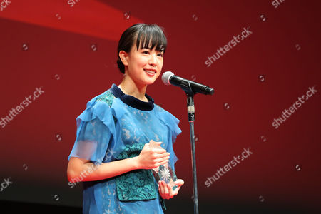 "Stock Picture of Actress Shizuka Ishibashi speaks after winning ""Tokyo Gemstone Award "" for the film ""THE TOKYO NIGHT SKY IS ALWAYS THE DENSEST SHADE OF BLUE"""