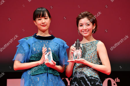 "Stock Photo of (L-R) Shizuka Ishibashi, Daphne Low - Actress Shizuka Ishibashi and Daphne Low win ""Tokyo Gemstone Award """