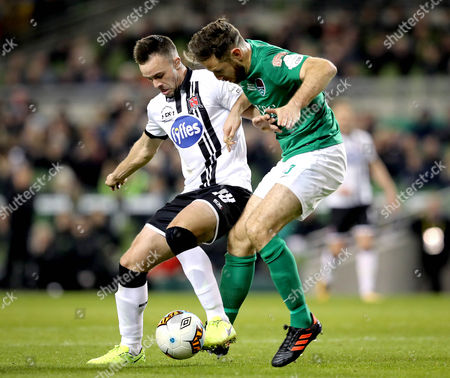 Dundalk vs Cork City. Dundalk's Robbie Benson and Alan Bennett of Cork City