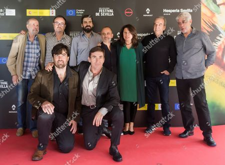 Director Manuel Martin Cuenca (2-L, rear) poses with actors Javier Gutierrez (C-rear), Antonio de la Torre (R-front), Adelfa Calvo (3-R) and Rafael Tellez (L), and musician Jose Luis Perales (2-R), among others, during a photocall of their film 'The Author' during the Sevilla's European Cinema Festival, in Seville, southern Spain, 05 November 2017.