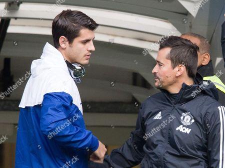 Manchester United  right with Alvaro Morata  of Chelsea Rui Faria