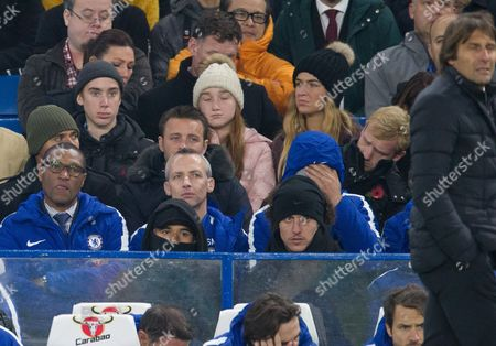 Stock Picture of Technical director Michael Emenalo left with Chelsea manager Antonio Conte right and David Luiz centre