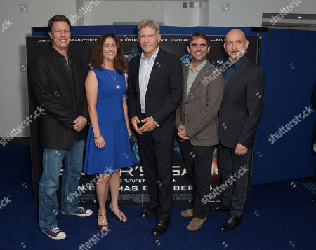 Director Gavin Hood, left, producer Gigi Pritzker, 2nd left, actor Harrison Ford, centre, producer Bob Orci, 2nd right, and actor Sir Ben Kingsley, pose for the photo call for their film at a cinema in London on Monday, Oct, 7, 2013