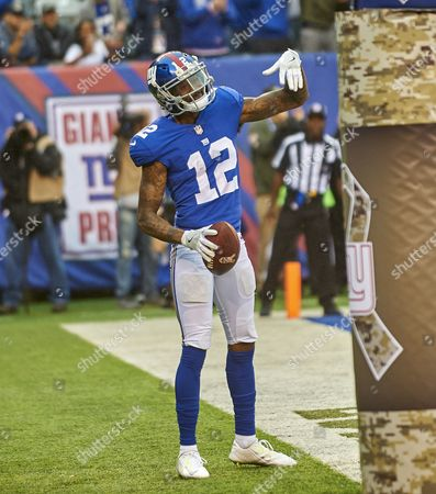 East Rutherford, New Jersey, U.S. - Giants' wide receiver Tavarres King (12) reacts after scoring a touchdown during NFL action between the Los Angeles Rams and the New York Giants at MetLife Stadium in East Rutherford, New Jersey