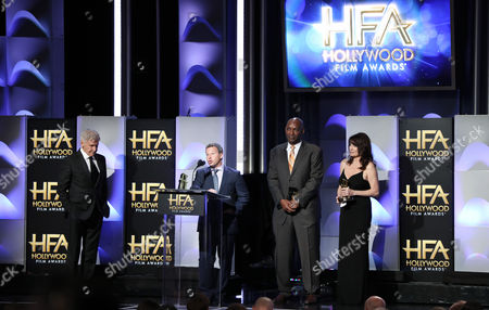 Harrison Ford, Andrew Kosove, Broderick Johnson and Cynthia Sikes Yorkin