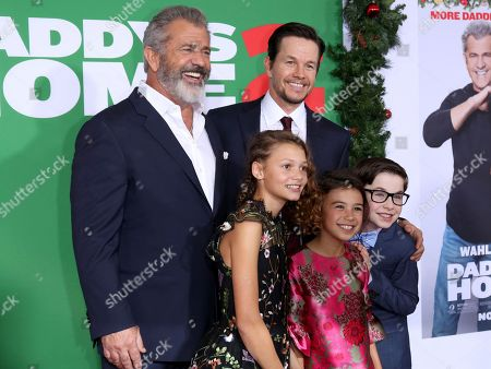 "Mel Gibson, Didi Costine, Scarlett Estevez, Mark Wahlberg, Owen Vaccaro. Mel Gibson, from left, Didi Costine, Scarlett Estevez, Mark Wahlberg and Owen Vaccaro arrive at the LA Premiere of ""Daddy's Home 2"" at the Regency Village Theatre, in Los Angeles"