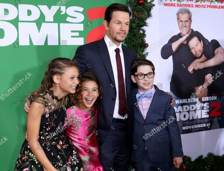 "Didi Costine, Scarlett Estevez, Mark Wahlberg, Owen Vaccaro. Didi Costine, from left, Scarlett Estevez, Mark Wahlberg and Owen Vaccaro arrive at the LA Premiere of ""Daddy's Home 2"" at the Regency Village Theatre, in Los Angeles"