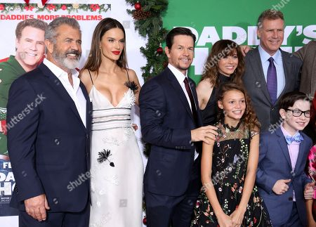"Mel Gibson, Alessandra Ambrosio, Mark Wahlberg, Linda Cardellini, Didi Costine, Will Ferrell, Owen Baccaro. Cast members Mel Gibson, from left, Alessandra Ambrosio, Mark Wahlberg, Linda Cardellini, Didi Costine, Will Ferrell and Owen Baccaro pose for a photo at the LA Premiere of ""Daddy's Home 2"" at the Regency Village Theatre, in Los Angeles"