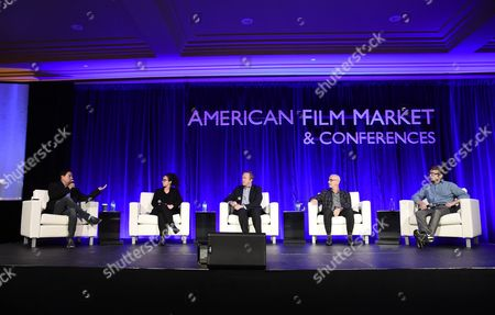 Richard Botto, Founder & CEO, Stage 32, Rebecca Cammarata, Director of Development, Stay Gold Features, Paul Hanson, CEO, Covert Media, Russell Levine, CEO, Route One Entertainment, Ben Stillman, SVP, Black Bear Pictures