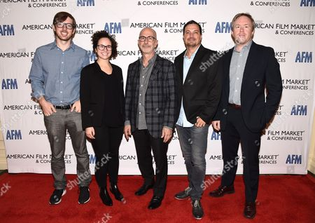 Stock Image of Ben Stillman, SVP, Black Bear Pictures, Rebecca Cammarata, Director of Development, Stay Gold Features, Russell Levine, CEO, Route One Entertainment, Richard Botto, Founder & CEO, Stage 32, Paul Hanson, CEO, Covert Media