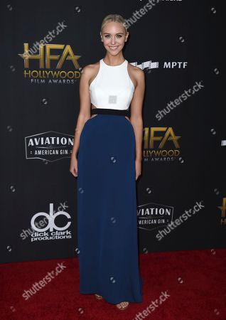 Paige Mobley arrives at the Hollywood Film Awards at the Beverly Hilton hotel, in Beverly Hills, Calif