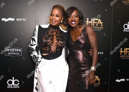 Mary J Blige, Viola Davis. Mary J Blige, left, and Viola Davis pose in the press room at the Hollywood Film Awards at the Beverly Hilton hotel, in Beverly Hills, Calif
