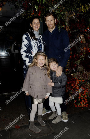 Tom Aikens and Justine Dobbs-Higginson with children Violet and Josephine