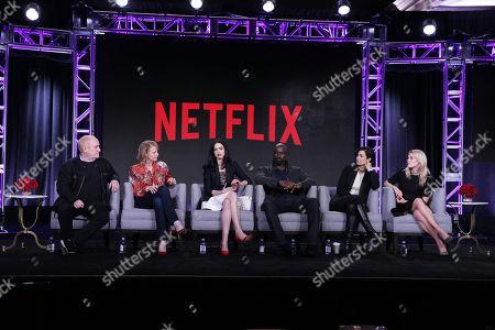 Jeph Loeb, Melissa Rosenberg, Krysten Ritter, Mike Colter, Carrie-Anne Moss and Rachael Taylor seen at Netflix 2016 Winter TCA, in Pasadena, CA