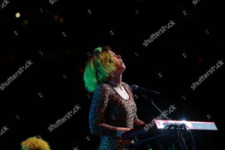 Singer/keyboardist Hannah Hooper, of Grouplove, performs on stage at the Capitol One Arena, in Washington