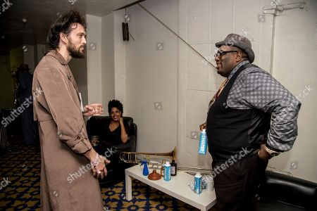 Stock Picture of Alex Ebert, Ronell Johnson. Alex Ebert, left, of Edward Sharpe and the Magnetic Zeros seen with Ronell Johnson of the Preservation Hall Jazz Band on day two of Summit LA17 in Downtown Los Angeles's Historic Broadway Theater District, in Los Angeles