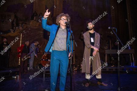 Ben Jaffe, Alex Ebert. Ben Jaffe, left, of the Preservation Hall Jazz Band seen with Alex Ebert of Edward Sharpe and the Magnetic Zeros on day two of Summit LA17 in Downtown Los Angeles's Historic Broadway Theater District, in Los Angeles