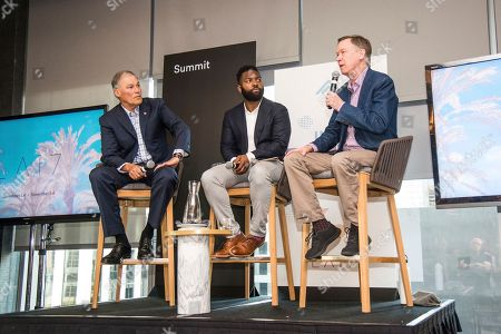 Jay Inslee, Baratunde Thurston, John Hickenlooper. Jay Inslee, from left, Baratunde Thurston and John Hickenlooper seen on day two of Summit LA17 in Downtown Los Angeles's Historic Broadway Theater District, in Los Angeles