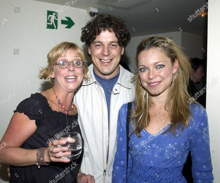 Stock Photo of Emma Chambers, Alan Davies and Sarah Alexander