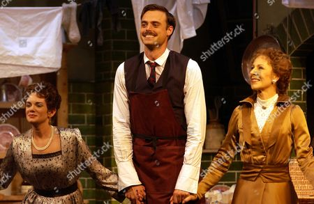 Stock Picture of Victoria Hamilton, Jamie Theakston and Jane How on stage for Curtain Call for