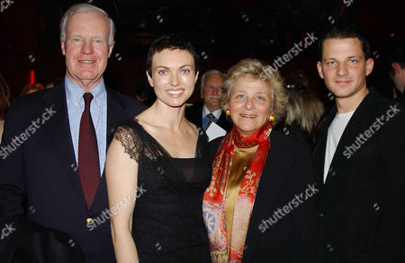 Sir Jocelyn Stevens with his partner, Dame Vivien Duffield, her son George Duffield and his wife Natasha Wightman  (she in the film)