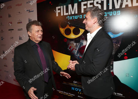 Stock Image of Director/founder of the Israel Film Festival Meir Fenigstein and Lior Ashkenazi