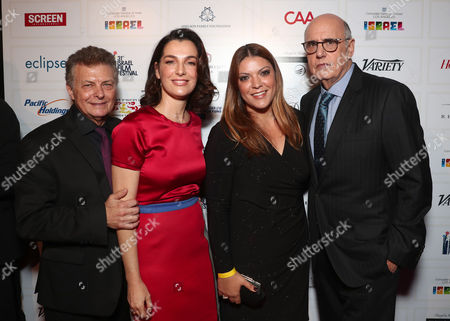 Stock Photo of Director/founder of the Israel Film Festival Meir Fenigstein, Ayelet Zurer, Israel's Cpmsul for Public Diplomacy and Culture Karin Eliyahu-Pery and Jeffrey Tambor