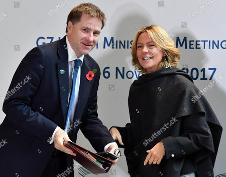 Italy's Minister of Health, Beatrice Lorenzin (R) welcomes United Kingdoms Undersecretary for Public Health and Community Heath, Steve Brine at a G7 Health Ministerial Meeting in Milan, Italy, 06 November 2017.