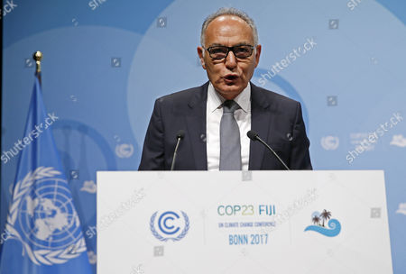 President of the COP22/CMP12, former Moroccan foreign minister Salaheddine Mezouar (L) speaks during the UN Climate Change Conference COP23 in Bonn, Germany, 06 November 2017. The 23rd session of the United Nations Framework Convention on Climate Change Conference (UNFCCC), the 2017 UN Climate Change Conference COP23 will take place from 06 to 17 November in Bonn, the seat of the Climate Change Secretariat, under the presidency of Fiji.
