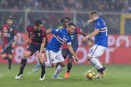 (L-R) Aleandro Rosi, Stephane Omeonga (Genoa), Fabio Quagliarella, Karol Linetty (Sampdoria)