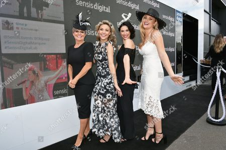 Home and Away actors Emily Symons, Sam Frost, Kestie Morassi and Sophie Dillman at the Sensis Marquee