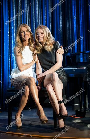 Celine Dion, left, and Veronic DiCaire pose for a portrait at the Jubilee Theatre on in Las Vegas. Celine Dion is throwing her star power behind a fellow French Canadian songstress Veronic DiCaire, who is setting up shop across the street in Las Vegas