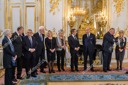 French Constitutional Council members, Corinne Luquiens (L), Michel Pinault (2-L), ?? (3-L),   former prime minister Lionel Jospin (4-L), Claire Bazy-Malaurie (5-L), Nicole Maestracci (6-L), Former president Nicolas Sarkozy (4-R), Council president Laurent Fabius (3-R), Senat president Gerard Larcher (2-R) and newly named member of the Council Dominique Lottin (R) during her oath-taking ceremony at the Elysee Palace in Paris, France, 06 November 2017. Dominique Lottin replaces Nicole Belloubet who became Justice Minister in June.