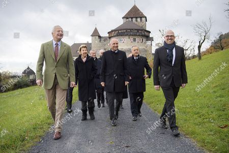 Stock Picture of H.S.H. Prince Hans-Adam II of Liechtenstein (L) and his wife H.S.H. Princess Marie of Liechtenstein (2-L) walk next to  Liechtenstein's prime minister Adrian Hasler (3-R), and Landtag president Albert Frick (2-R) before receiving a tree as a gift for their Golden Wedding by the government of Liechtenstein  in Vaduz, Liechtenstein, 06 November 2017.