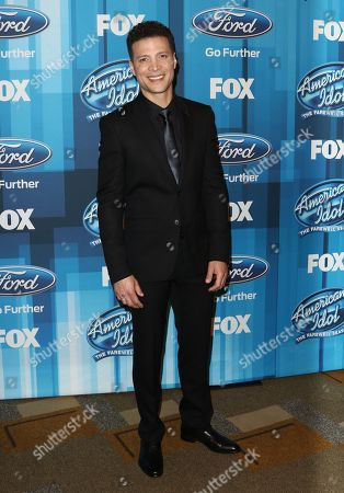 """Justin Guarini arrives at the """"American Idol"""" farewell season finale at the Dolby Theatre, in Los Angeles"""