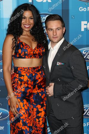 "Jordin Sparks, left, and Blake Lewis arrive at the ""American Idol"" farewell season finale at the Dolby Theatre, in Los Angeles"