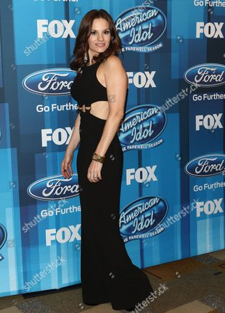 "Kara DioGuardi arrives at the ""American Idol"" farewell season finale at the Dolby Theatre, in Los Angeles"